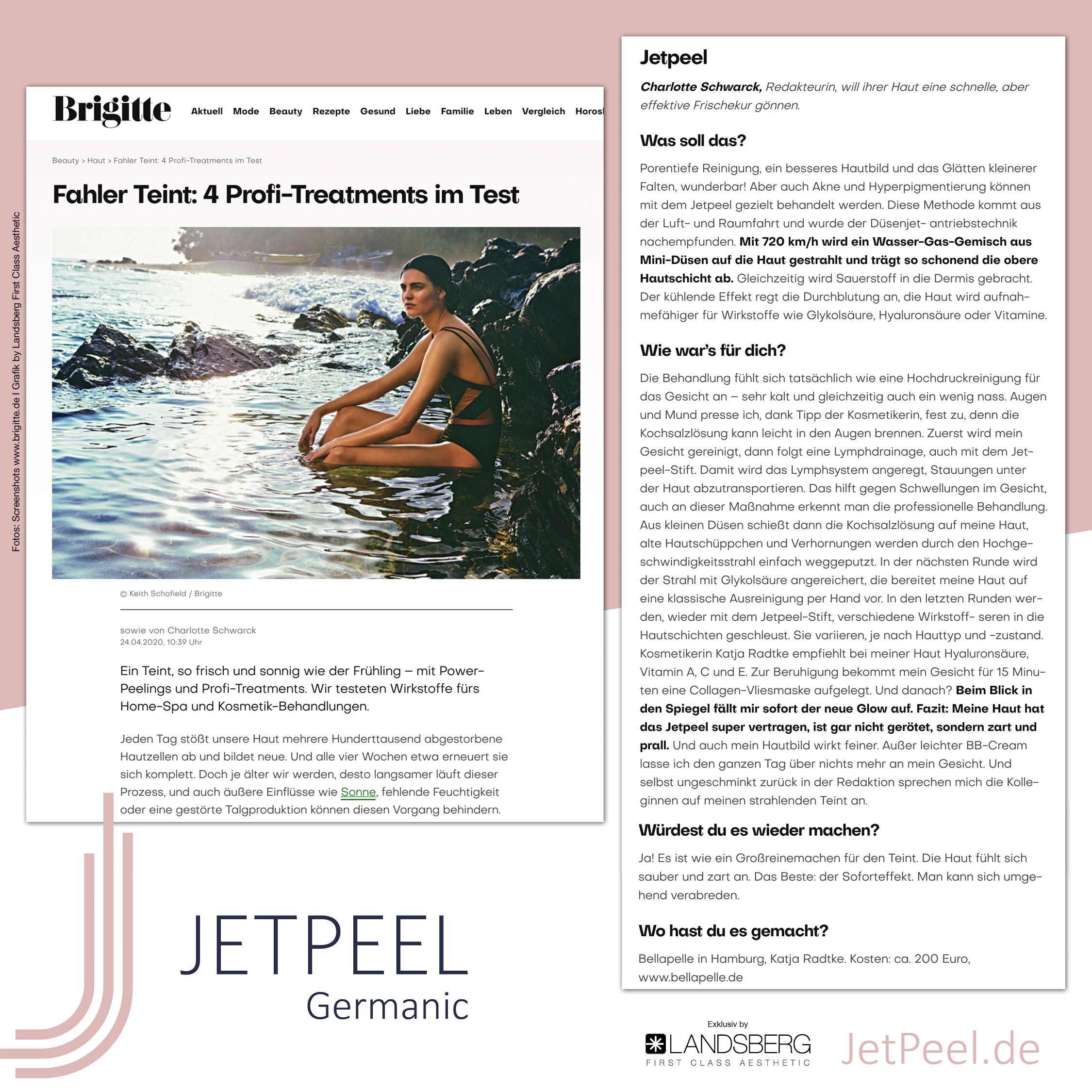 """JetPeel™ begeistert im Treatment-Test der Frauenzeitschrift """"Brigitte"""""""