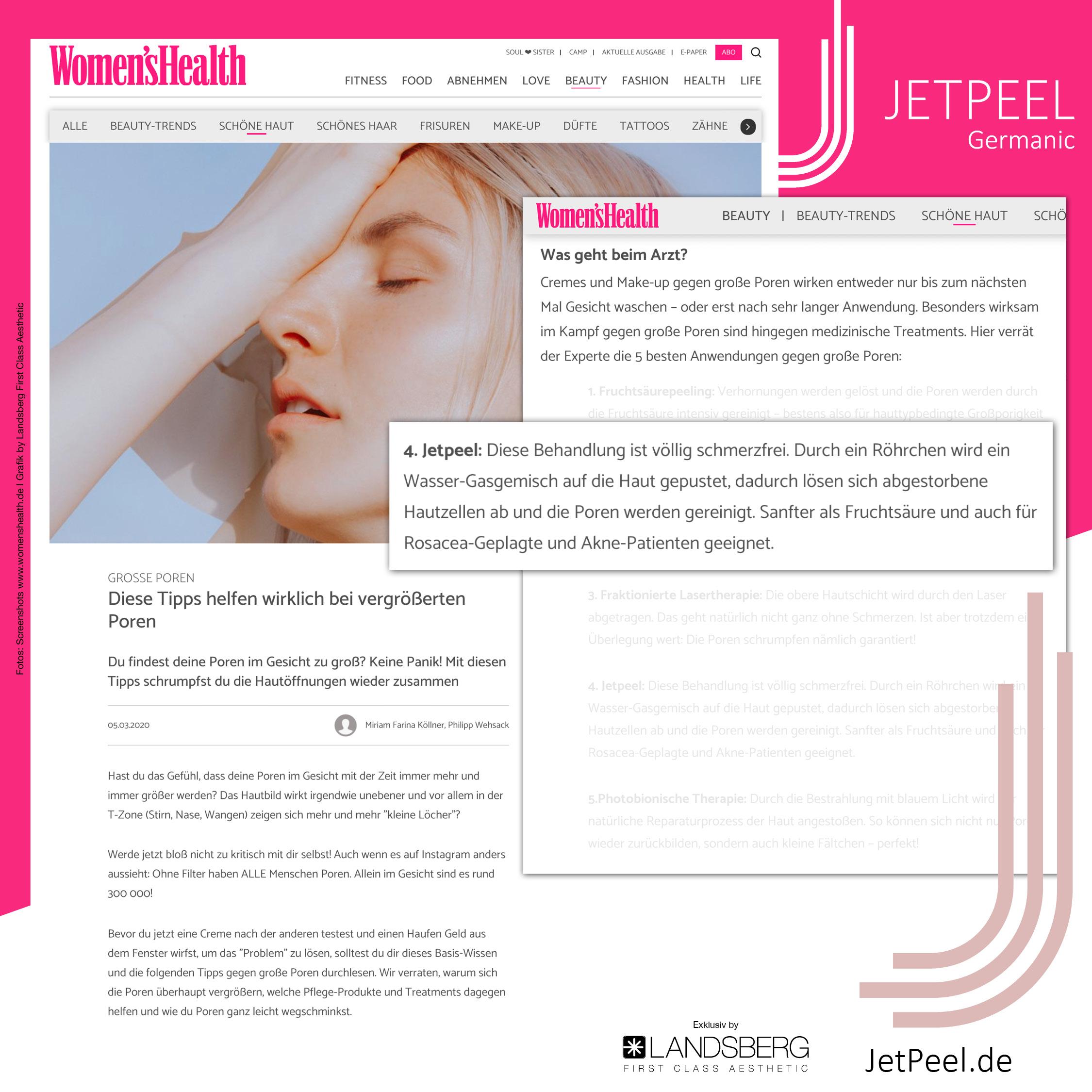"JetPeel™ unter den Top5 der besten Anwendungen bei ""Women'sHealth"""